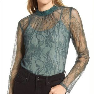CHELSEA28 Green Lace Sheer Blouse